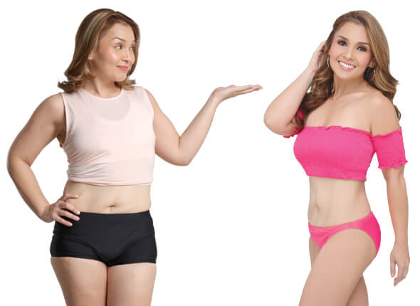 Before and after results photo of woman who underwent non invasive fat removal procedures