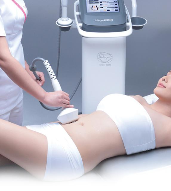Woman undergoing tripollar skin tightening