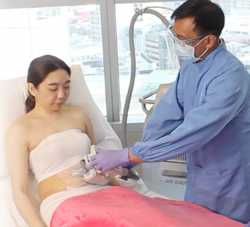 Woman undergoing coolsculpting body contouring
